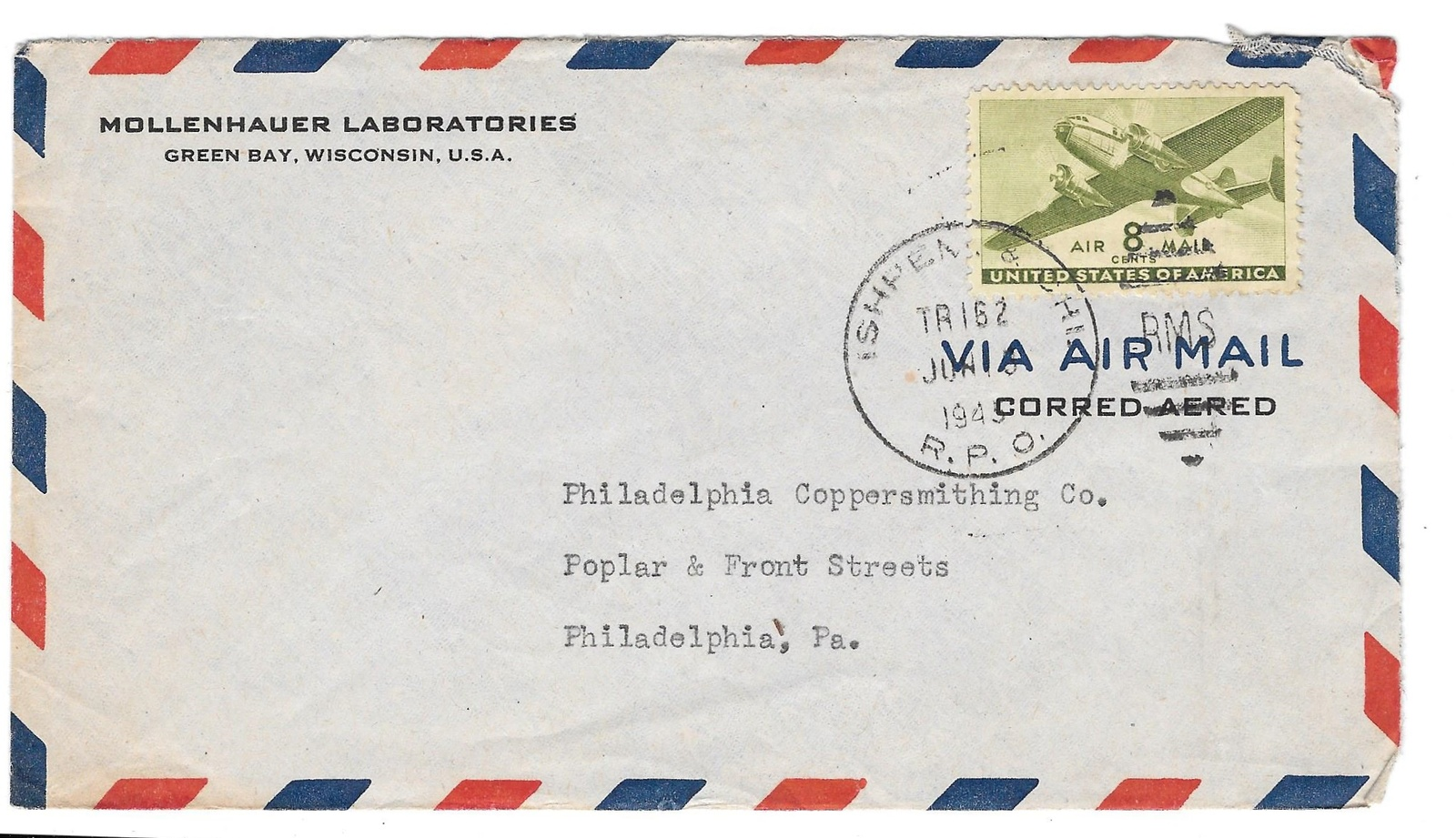 94 br 132 315 rpo air mail ishpeming chi mollenhauer laboratories