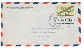 1945 RPO Cover Ispheming & Chicago Railway Post Office Tr 152 Air Mail s... - $6.69