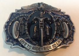 Motorcycle Metal Belt Buckle LIVE TO RIDE Black Blue NEW  - $9.99