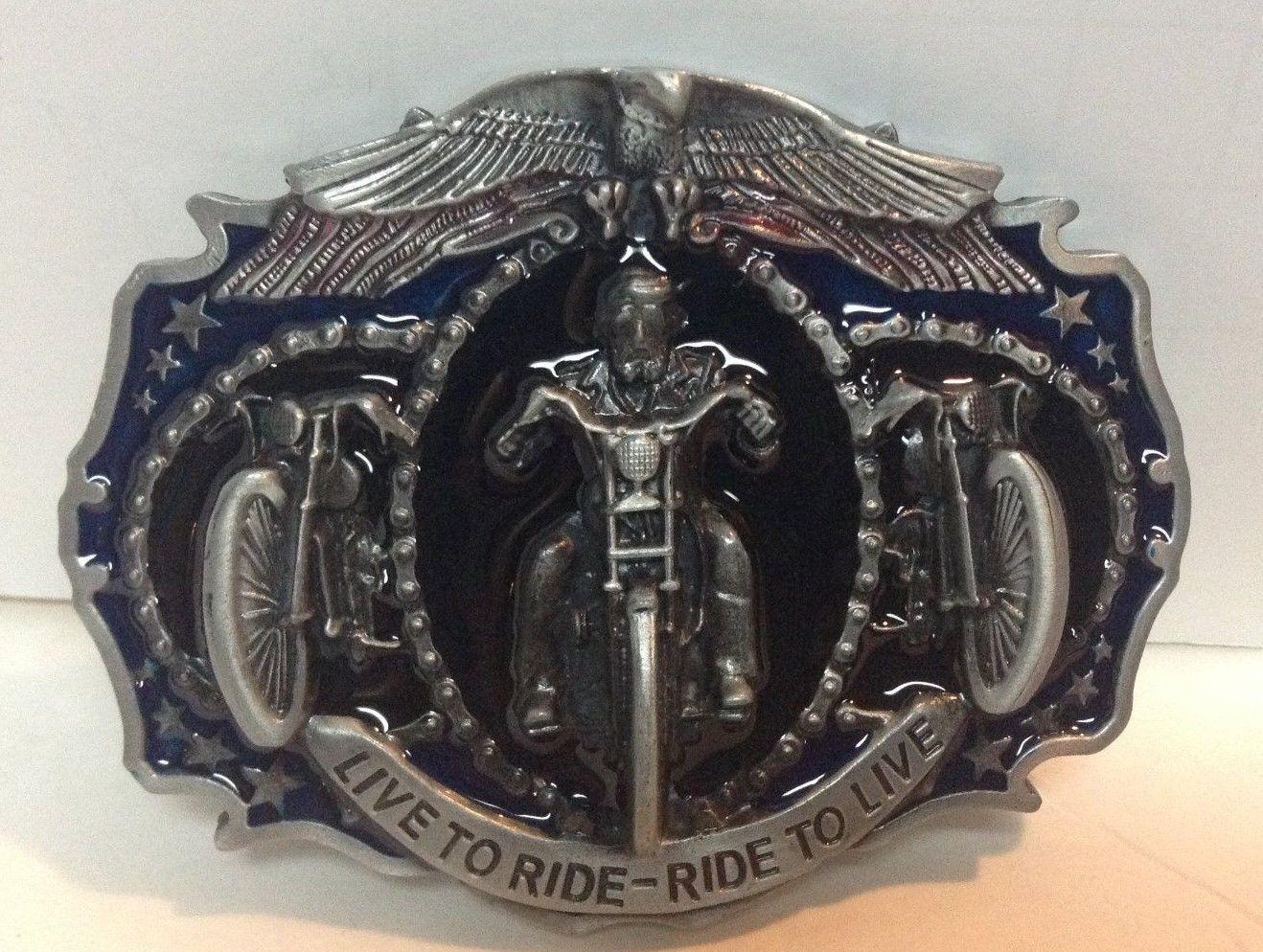 Motorcycle Metal Belt Buckle LIVE TO RIDE Black Blue NEW