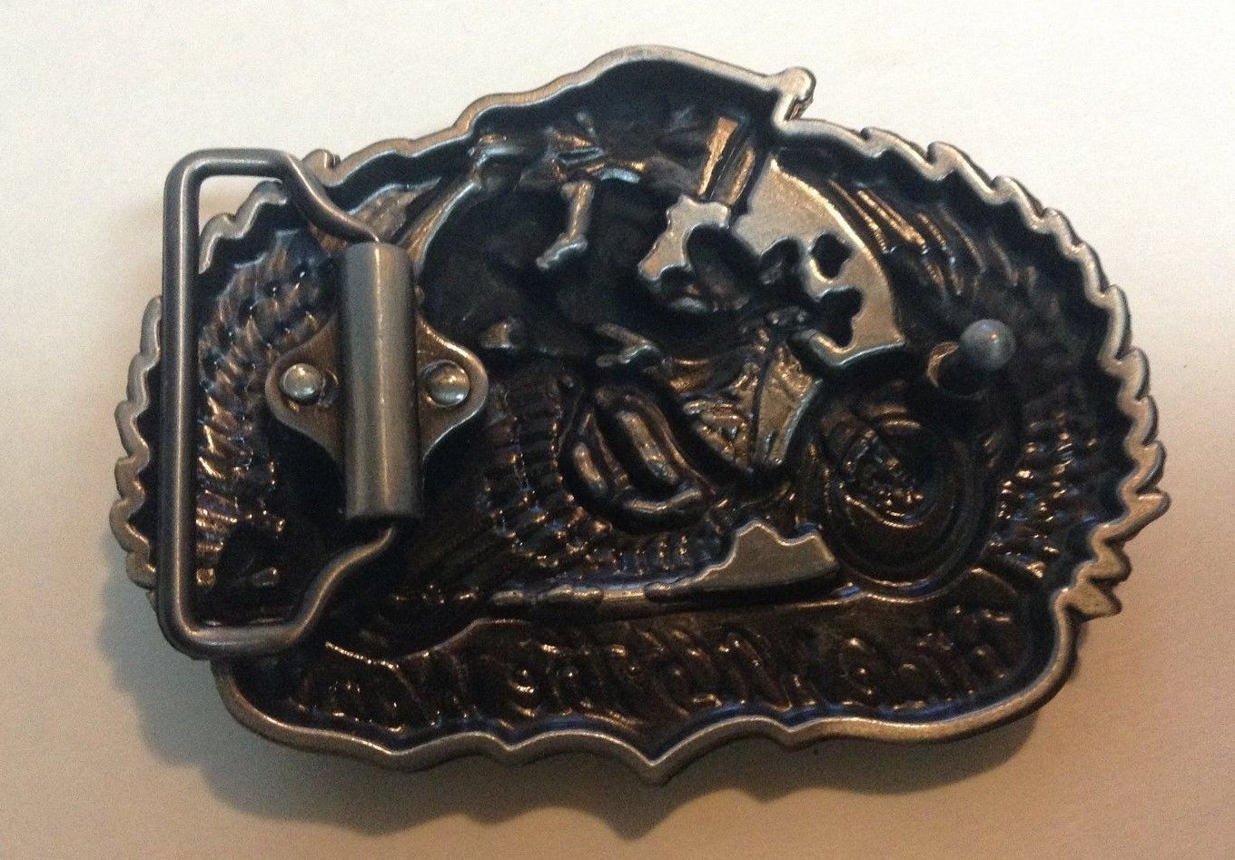 Motorcycle Pewter Belt Buckle RIDE WITH THE WIND New Couple
