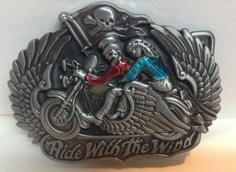 Motorcycle Pewter Belt Buckle RIDE WITH THE WIND New Couple  - $8.99