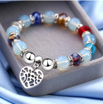 Elastic Glass Beads Bracelets Femme Heart Charm Bracelet For Women Autum... - $6.64+