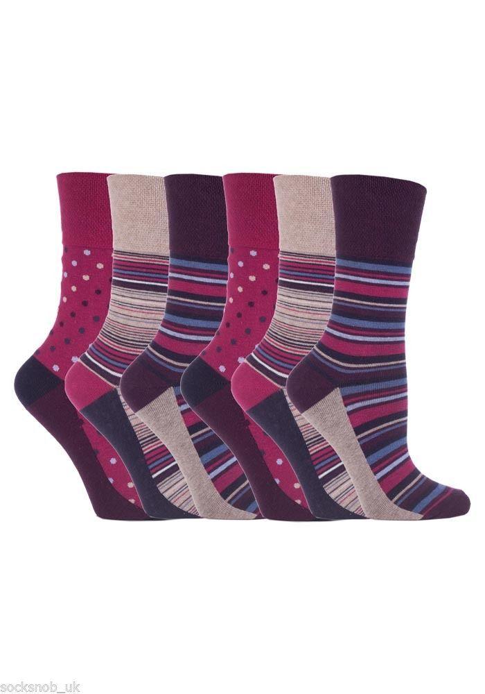 6 Pairs Womens Sockshop Gentle grip socks 4-8 uk,37-42 Stripe dot Pink GG55