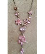 Vintage Sparkly Pink Rhinestone Pink Flower Necklace  - $29.99
