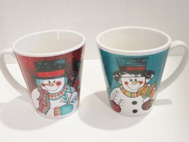Christmas Mugs 2 Snowmen Dressed Scarves Emerald Connection Ceramic - £12.35 GBP