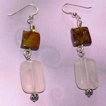 Silver Handmade Chalcedony, Pietersite and Citrine Earrings - $30.00