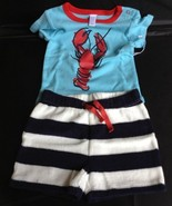 New Nordstrom Baby Boy Maine Lobster Navy Sailor Shorts Infant Outfit 3-... - $9.75