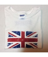 British Flag T-Shirt NWOT Sz L Gildan Ultra Cotton White  - $8.99