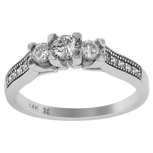 1.00cts 3 Stone Round Cut Diamond Anniversary Ring 14k White Gold