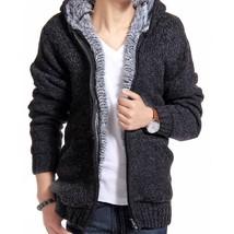Jacket Men Thick Velvet Hooded Fur Jackets Mens Winter Padded Casual Kni... - $49.70