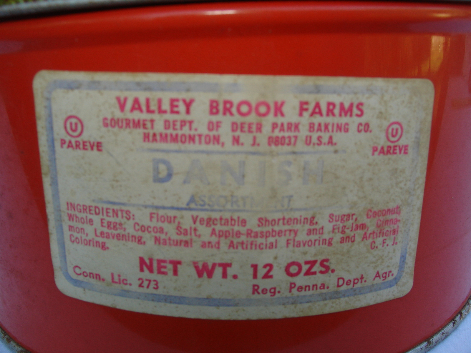 Primary image for  Danish Cookie Tin  Vintage Valley Brook Farm
