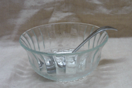 Vintage Pressed Glass Clear Mayonnaise/Condiment Bowl with Sheffield Ladle - $10.00