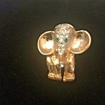 GoldTone Green Rhinestone Eye Elephant Pin Brooch J6247 - $6.65
