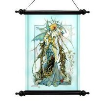 Mystical Magical Moonstones the Enchantress Canvas Wall Scroll Tapestry - $25.74