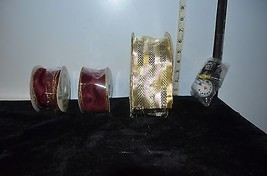 Lot of 3 NEW&Used Christmas Decor Ribbon Spools Red & Gold Snowman Anten... - $6.11