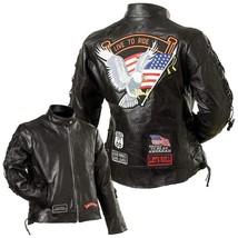 Diamond Plate Ladies' Rock Design Genuine Buffalo Leather Motorcycle Jac... - $65.00