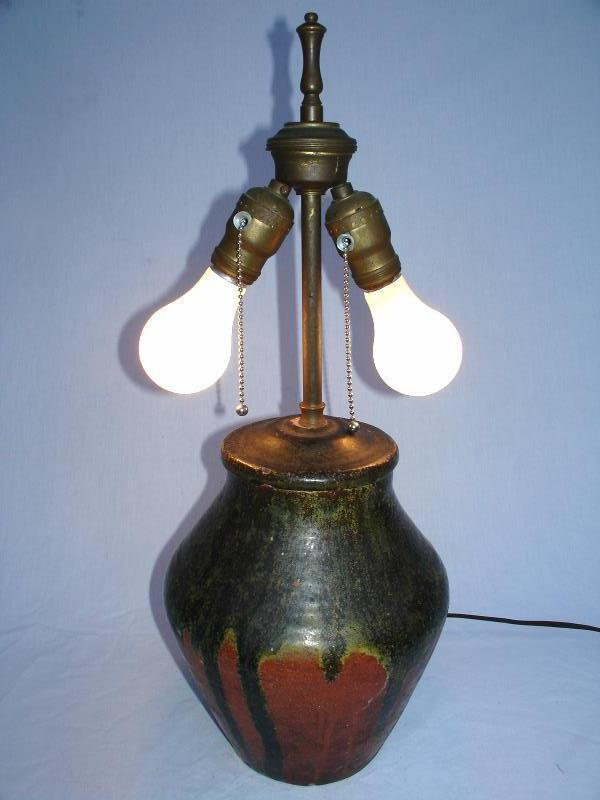 Frey Lamp Vintage Ceramic Art Pottery Double And 50