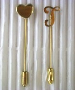 2 Vintage lapel stick-pin hat-pin monogram T & Heart gold tone Large Pins - $6.50
