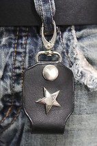 Men Silver Key Chain Ring Holder Texas Star Charm Clasp Hook Black Faux ... - $14.69