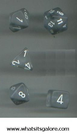 13 different role-playing MULTI-SIDED DICE frosted/white/red die+
