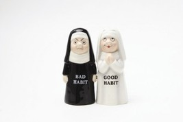 Good and Bad Habits Ceramic Magnetic Salt and Pepper Shakers Collection Set - $12.86