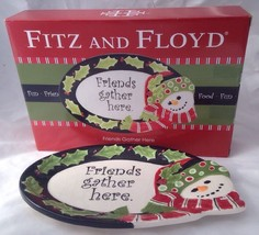 Fitz and Floyd Snowman Sentiment Tray Plate Platter Friends Gather Here - $18.95