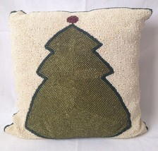 Beaded Ivory w Green Christmas Tree Throw Pillow Satin Zippered Cover - $19.95