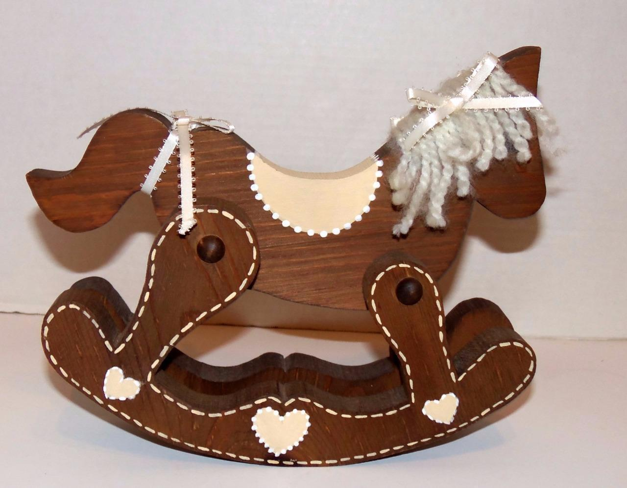 Solid Wood Folk Art Home Decor Country Rocking Horse Other