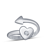Adjustable Heart & Arrow Ring Engagement Wedding Jewelry 14K White Gold ... - $39.76