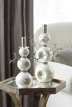 "Snowman Table Top Center Piece Set of 2 Glass 11 and 13"" Tall [Kitchen]"