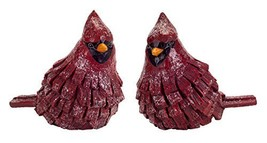 "Wooden Look Red Cardinals Set Of 2 5.5"" Tall Polystone [Kitchen]"