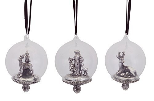 Scenic Snow Globe Ornaments Vintage Pewter Look [Kitchen]