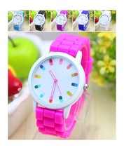 LOT of 6-Watches - Florescent Color Dots Hologram Dial Fashion 4 Women - $31.98