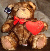 New  Applause Brown Teddy Bear Red Bow Stuffed Animal Toy plush - $7.69