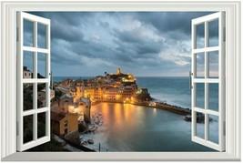 Window View Scenery PVC Wall Sticker Seaside Castle Sticker Scenery Remo... - $15.43