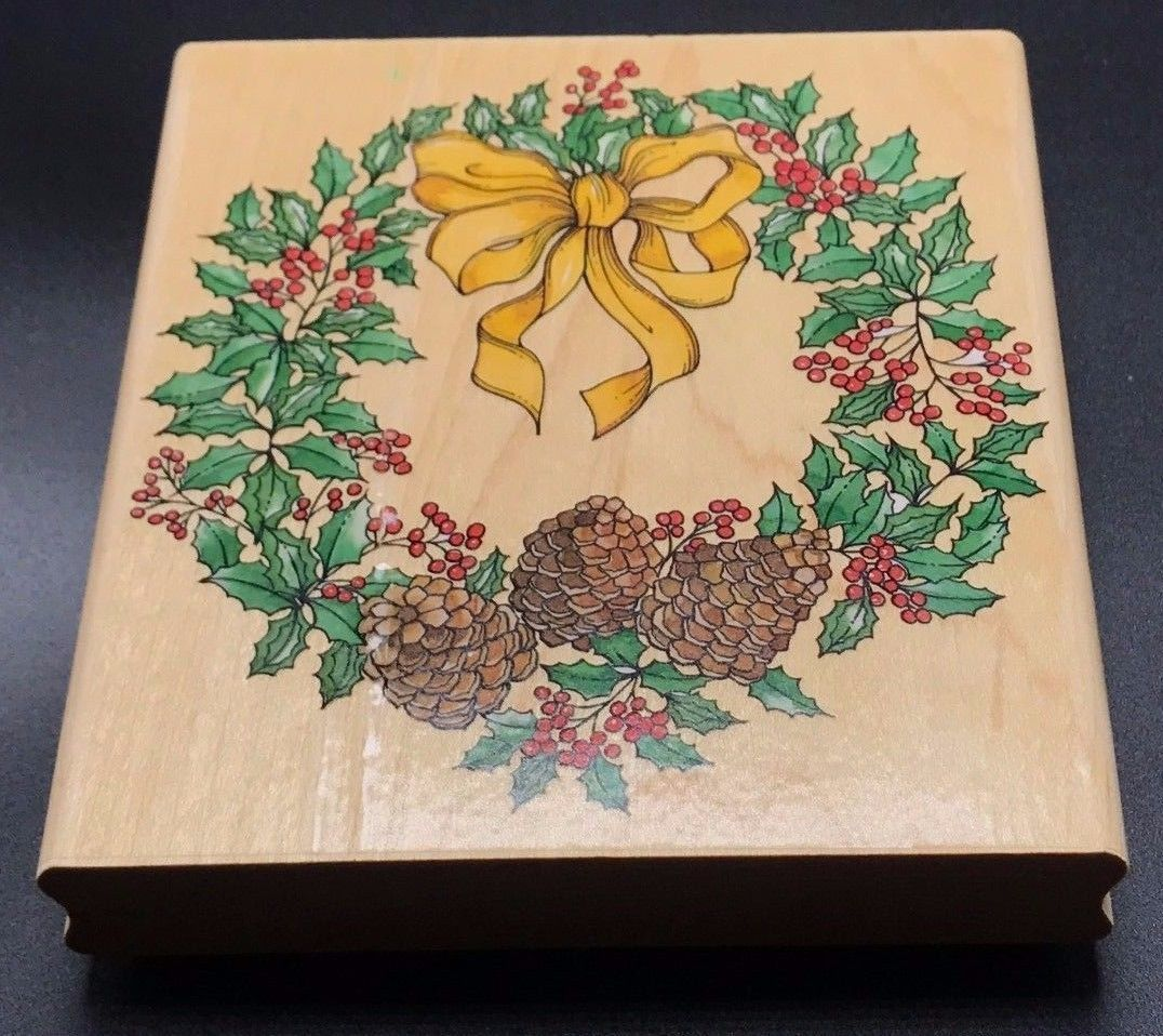 "Primary image for Winter Wreath A1600G by Rubber Stampede Wood Mounted Rubber Stamp NEW 4""X4.5"""