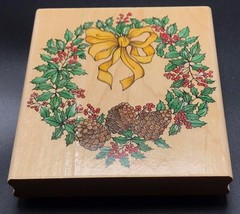 """Winter Wreath A1600G by Rubber Stampede Wood Mounted Rubber Stamp NEW 4""""... - $14.50"""