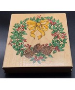 "Winter Wreath A1600G by Rubber Stampede Wood Mounted Rubber Stamp NEW 4""... - $14.50"