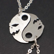 Silver Yin Yang Skull Couple Necklace Pendant - $82.00