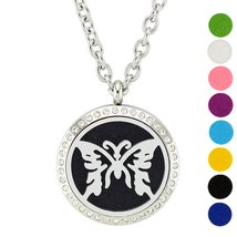 AZORA Butterfly Stainless Steel Essential Oils Diffuser Necklace Magneti... - $11.59