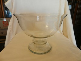 "Vintage Crystal Pedestal Punch Bowl or Fruit Bowl 8.75"" Tall 11.5"" Diameter - $222.75"