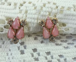 Beautiful Vintage Pink stone Faux diamonds Gold tone Scred-Back Earrings... - $11.85