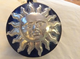 Blue and silver glitter Shining Sun  Glass Ornament Old German Christmas - $20.78