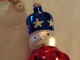 Nutcracker soldier red white blue Glass Holiday Ornament Old German Christmas image 5