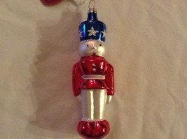 Nutcracker soldier red white blue Glass Holiday Ornament Old German Christmas image 3