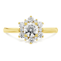 White Round Cut Diamond Solid 925 Silver Engagement Solitaire With Accents Ring - $72.99