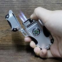 Double Nozzles Flame Compass Jet Torch Refillable Butane Cigarette Gas Lighte...