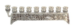 Judaica Hanukkah Menorah Decorated Silver Nickel Jewish Symbols Israel Candles
