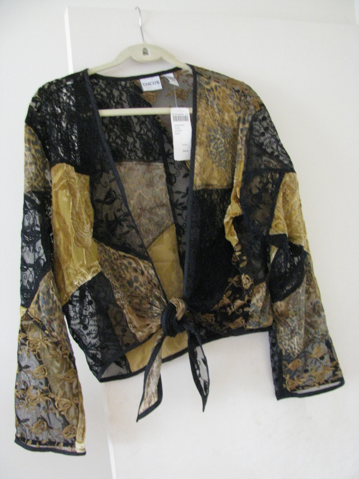 4c0f9be117dd56 Chico s Black Gold Tyler Lace Patch Shirt top -  66.00